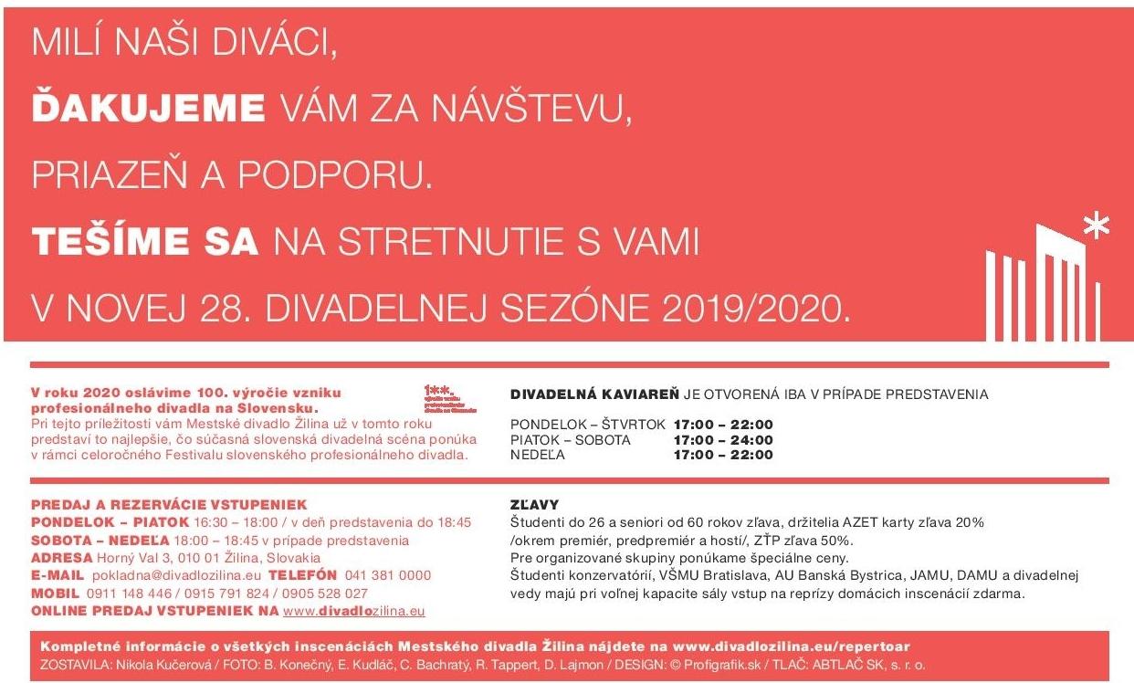 Program Mestského divadla v Žilina - JÚN 2019